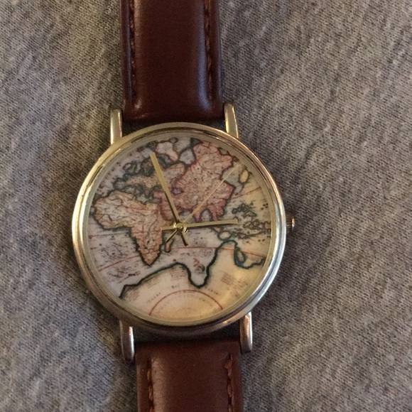 Urban Outfitters World Map Watch.Urban Outfitters Accessories World Map Leather Watch Poshmark